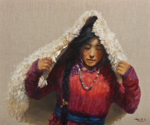 """""""Keeping Warm"""" by Donna Zhang 30 x 36 – oil $6350 (thick linen wrap)"""