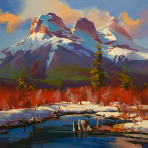 "SOLD ""One Veiled Sister (Canmore, Alta.)"" by Mike Svob 24 x 24 - acrylic $3625 Unframed"