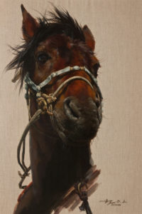 """SOLD """"Quiet Strength"""" by Donna Zhang 24 x 36 – oil $6050 (thick linen wrap)"""