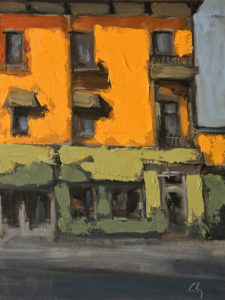 "SOLD ""Rue Principale"" (Main Street) by Robert P. Roy 9 x 12 – oil $490 Unframed"