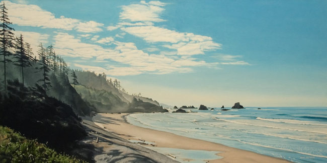 """""""West Coast Morning,"""" by Ron Parker 20 x 40 - oil $4500 Unframed"""