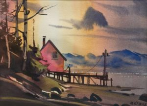 """SOLD """"Cabin by the Sea,"""" by Michael O'Toole 10 x 14 - watercolour $950 framed"""