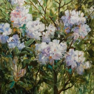 """SOLD """"Dream of Violet,"""" by Janice Robertson 36 x 36 - acrylic $4150 (thick canvas wrap)"""