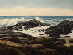 """""""Pettinger Point,"""" by Merv Brandel 36 x 48 - oil $8625 (artwork continues onto edges of wide canvas wrap)"""