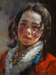 """SOLD """"Quiet Confidence,"""" by Donna Zhang 18 x 24 - oil $3650 Unframed"""