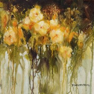 """SOLD """"Buttercups,"""" by Janice Robertson 12 x 12 - acrylic $730 (thick canvas wrap)"""