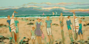 """SOLD """"A Good Time at the Beach,"""" by Claudette Castonguay 15 x 30 - acrylic $1100 Unframed"""