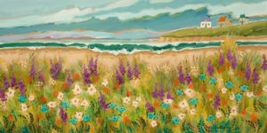 """SOLD """"The Island Point,"""" by Claudette Castonguay 15 x 30 - acrylic $1100 Unframed"""