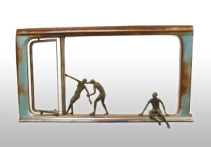 """SOLD """"Joyride,"""" by Janis Woode wrapped copper wire, steel, glass - 29 1/2"""" (L) x 17"""" (H) x 4"""" (W) $4000"""