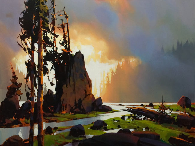 """ON HOLD """"Sea Stack - Rivers Inlet,"""" by Michael O'Toole 30 x 40 - acrylic"""