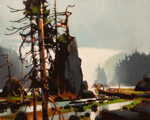 """SOLD """"Sea Stack Study - Rivers Inlet,"""" by Michael O'Toole 16 x 20 - acrylic $1625 Unframed"""