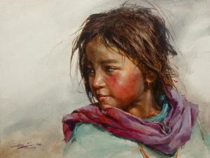 """SOLD """"Violet Scarf,"""" by Donna Zhang 18 x 24 - oil $3650 Unframed"""