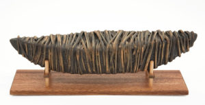 """Wrapt Boat with stand (LR-256) by Laurie Rolland hand-built ceramic - 13"""" (L) x 4"""" (H) x 4"""" (W) $300"""