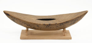 """SOLD Boat with stand (LR-257) by Laurie Rolland hand-built ceramic - 16 1/2"""" (L) x 5 1/2"""" (H) x 5"""" (W) $350"""