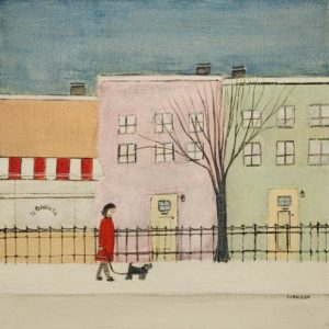 """SOLD """"Le Barista,"""" by Louise Lauzon 12 x 12 - acrylic $440 Unframed"""