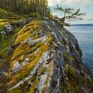 """SOLD """"Keel Cove Cliff (Looking North),"""" by Graeme Shaw 30 x 30 - oil $3420 Unframed"""