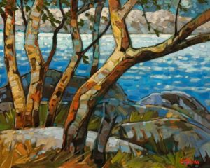 """SOLD """"Neck Point Arbutus,"""" by Graeme Shaw 16 x 20 - oil $1215 Unframed"""