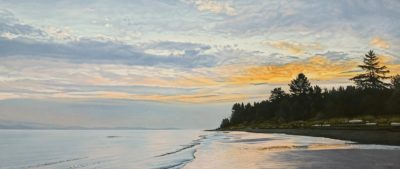 """SOLD """"Qualicum Dawn Clouds,"""" by Ron Parker 20 x 48 - oil $5300 Unframed"""