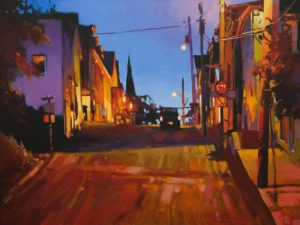 "SOLD ""The Witching Hour (Lunenburg, Nova Scotia)"" by Mike Svob 18 x 24 - acrylic $2810 Unframed"