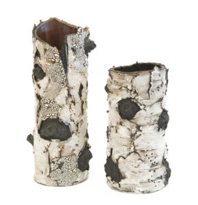 """SOLD """"Luminosity"""" (BEBL 92) and """"Wistful"""" (BEBL 90 - SOLD) by Bev Ellis ceramic - 13"""" (H) x 5"""" (W) and 9 1/2 (H) x 4"""" (W) $340 and $120"""