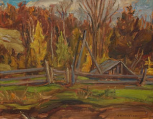 """SOLD """"Farm Near Combermere, Ontario"""" (1962) by A.Y. Jackson 10 1/2 x 13 1/2 - oil"""