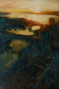 """SOLD """"Before Sunset,"""" by William Liao 24 x 36 - oil $2650 Unframed"""