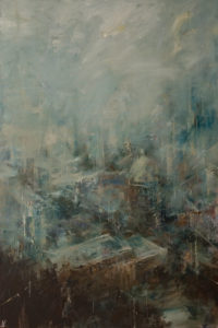 """SOLD """"City in Clouds,"""" by William Liao 24 x 36 - oil $2650 Unframed"""