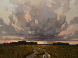 "SOLD ""Clouds in the Distance"" by Min Ma 30 x 40 – acrylic $5510 Unframed"