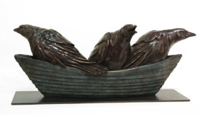 """""""Crow, Crow, Crow Your Boat,"""" by Nicola Prinsen 29"""" (L) x 12 1/2"""" (H) x 11"""" (W) - bronze Edition of 5 $12,500"""