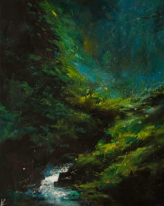 """SOLD """"Deep Forest No. 1,"""" by William Liao 16 x 20 - acrylic $1120 Unframed"""