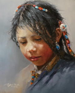 """SOLD """"Deep in Thought"""" by Donna Zhang 16 x 20 - oil $2750 Unframed"""
