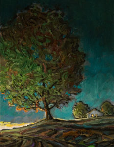 """SOLD """"Dusk Tree and House,"""" by Steve Coffey 7 x 9 - oil $660 Unframed"""