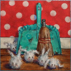 """SOLD """"The Dust Bunnies: Clean Sweep"""" by Angie Rees 12 x 12 - acrylic $825 (unframed panel with 1 1/2"""" edges)"""