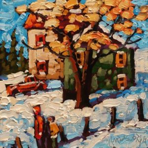 """""""Early Snow"""" by Rod Charlesworth 6 x 6 - oil $475 Unframed"""