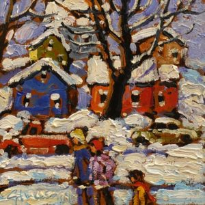 """SOLD """"Friends"""" by Rod Charlesworth 6 x 6 - oil $475 Unframed"""