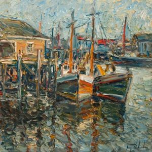 "SOLD ""Gloucester's Boats, Massachusetts,"" by Raynald Leclerc 24 x 24 - oil $2750 Unframed"