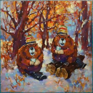 """SOLD """"Hot Toddies"""" by Angie Rees 12 x 12 - acrylic $825 (unframed panel with 1 1/2"""" edges)"""