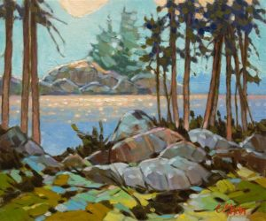"""SOLD """"Inlet Island View"""" by Graeme Shaw 10 x 12 - oil $600 Unframed"""