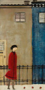"""SOLD """"Le manteau rouge"""" (The Red Coat) by Louise Lauzon 8 x 16 - acrylic $440 Unframed"""