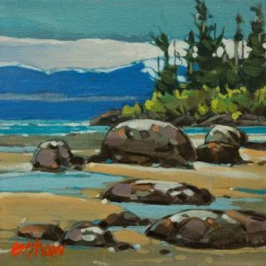 """SOLD """"Nanaimo North End Beach"""" by Graeme Shaw 8 x 8 - acrylic $470 Unframed"""