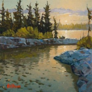 """SOLD """"Passage to the Lake,"""" by Graeme Shaw 8 x 8 - oil $470 Unframed"""