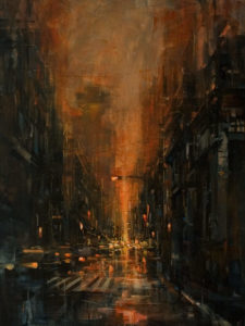 """SOLD """"Rainy Night,"""" by William Liao 30 x 40 - oil $3600 Unframed"""