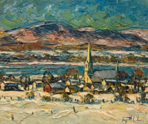 """Saint-Michel, mon village natal,"" by Raynald Leclerc 20 x 24 - oil $2500 Unframed"