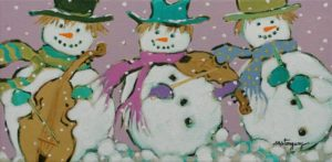 """SOLD """"Le trio musical"""" by Claudette Castonguay 6 x 12 - acrylic $310 Unframed"""