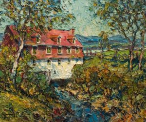 "SOLD ""Le vieux moulin, Beaumont-Bellechasse,"" by Raynald Leclerc 20 x 24 - oil $2500 Unframed"