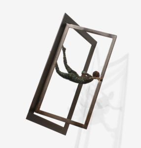 """SOLD """"Another Door Opens"""" (hanging piece) by Janis Woode steel, wrapped copper wire - 15"""" (H) x 9"""" (L) x 9"""" (W) $2650"""