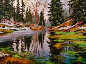 """SOLD """"Carole's Favourite Place,"""" by David Langevin 36 x 48 - acrylic $4970 Unframed"""