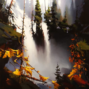 """SOLD """"Falls and Mist at Twin Peaks,"""" by Michael O'Toole 36 x 36 - acrylic $5400 (thick canvas wrap)"""