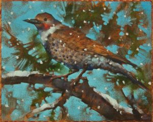"""SOLD """"A Flicker of Hope"""" by Angie Rees 8 x 10 – acrylic $575 (unframed panel with 1 1/2″ edges)"""