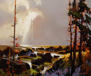 """SOLD """"A Focal Point of Light, Haida Gwaii,"""" by Michael O'Toole 20 x 24 - acrylic $2185 (thick canvas wrap)"""